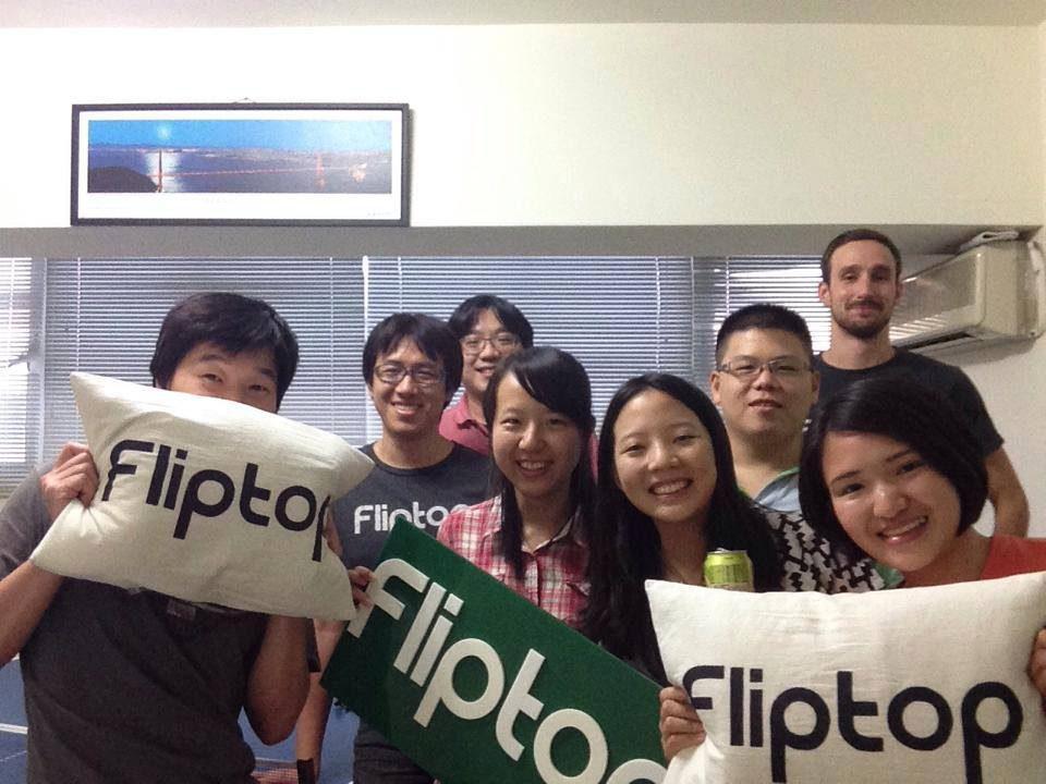 Ian Tsai with his colleagues at Fliptop.
