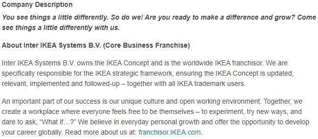 Ikea company description